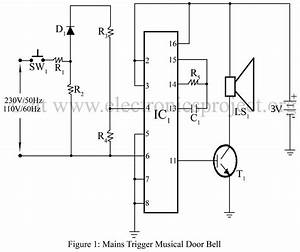 mains trigger musical door bell electronics project With musical bell circuit diagram