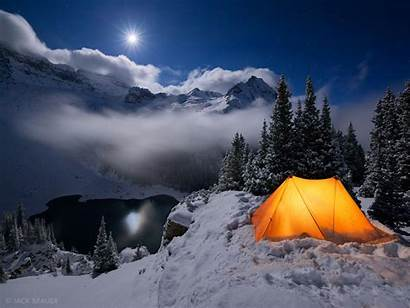 Winter Lakes Moonlight Camping Colorado Snow Mountains
