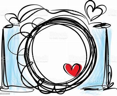 Camera Heart Doodle Drawn Hand Illustration Digital