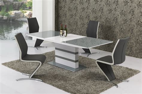 large extending grey glass white gloss dining table