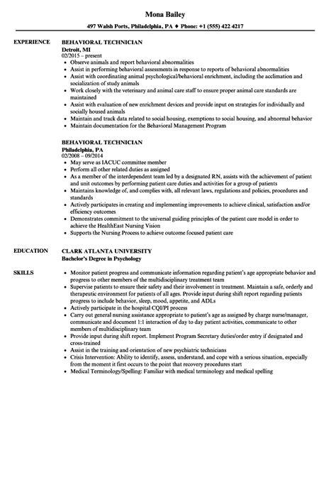 behavioral technician resume samples velvet jobs