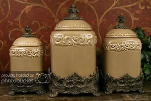 Tuscan Drake Design Taupe Kitchen Canisters S3 EBay