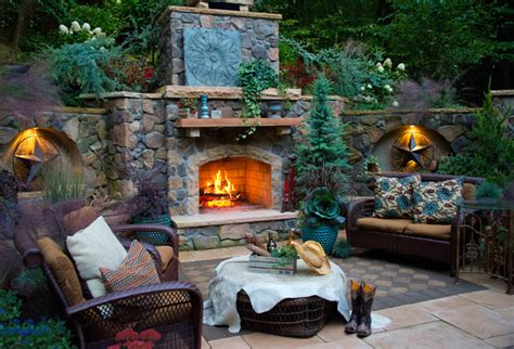 outdoor fireplace and patio rustic garden dc metro