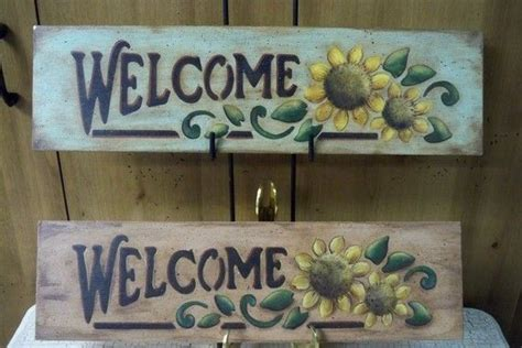 wooden  sunflower sign hand painted  signs