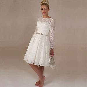 aliexpresscom buy 2015 hot sale white lace short With long sleeve short wedding dresses