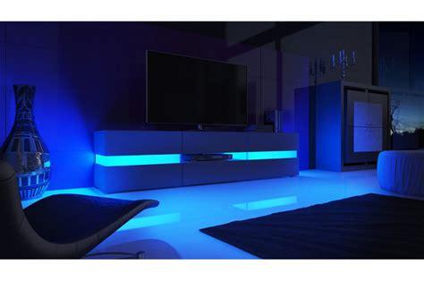 Meuble Tv Design Blanc Laqué / Éclairage Led Pour Salon