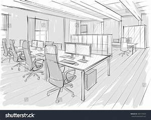 Architectural Sketch Office Drawing Stock Vector 446175829