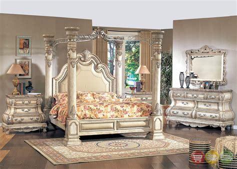 antique white queen poster canopy bed victorian inspired