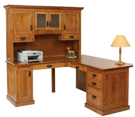 Narrow Computer Desk With Shelves by Homestead Corner Desk With Hutch Top Amish Oak