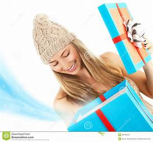Woman Opened Christmas Present Stock Images - Image: 28193504
