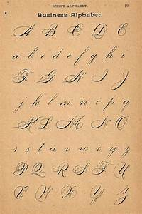 1890s Calligraphy Print Page Capital Letters Ornamental ...