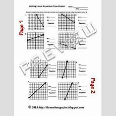 Writing Linear Equations From Graphs Worksheet W Key Aced1  2, Fif4 7