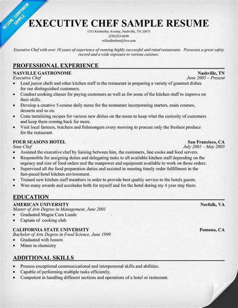 executive chef resume a bit of everything pinterest