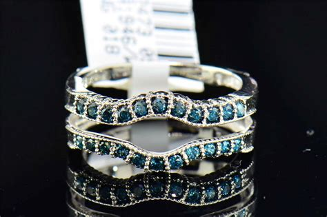 blue solitaire engagement ring enhancer wrap cut 14k white gold ebay