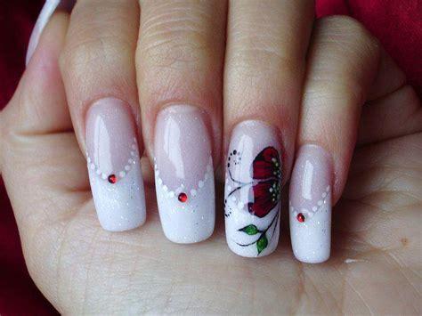 manicura francesa  flores  disenos de unas