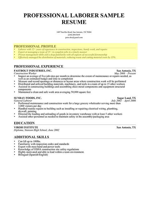 How To Write A Professional Resume Exles by Write A Professional Resume 11 12 Writing A Professional