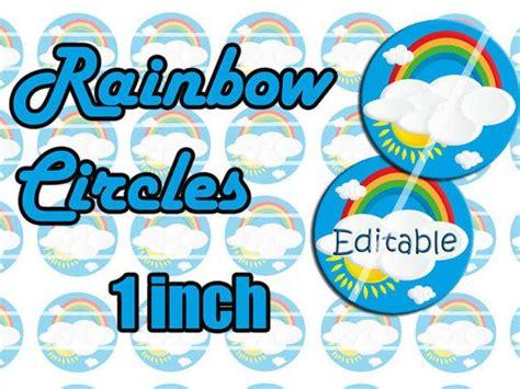 rainbow   circles editable blank  diy template
