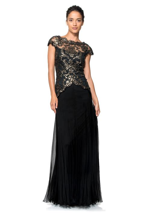 Paillette Embroidered Lace and Chiffon Skirt Gown ...