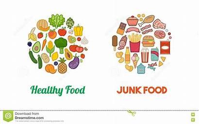 Junk Healthy Clipart Vegetables Unhealthy Nutrition Illustration