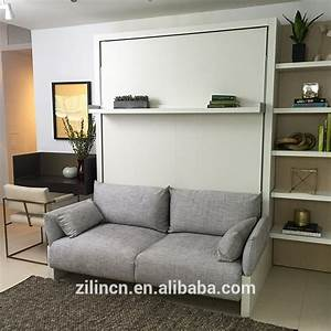 2016 modern new model customized wooden bedroom wardrobe With wall bed with sofa price