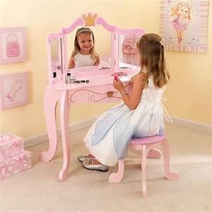 Coiffeuse En Bois Et Tabouret Rose Pour Enfant Princess