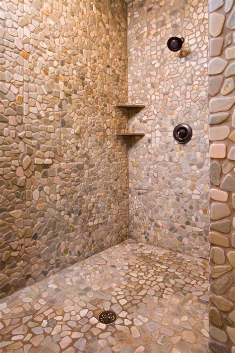 stone shower stall  cool bathroom inspiration
