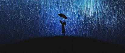 Rain Silhouette Umbrella 1080p Dual Wide Ultrawide