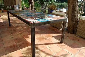 table a diner metal et carreaux de ciment atelier With fabrication carreaux de ciment
