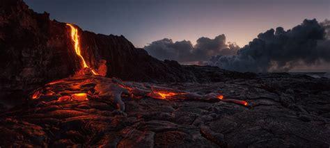 Flowing Lava Wallpaper Nature Volcano Hawaii Island Hd