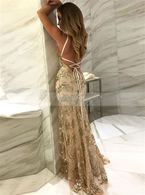 gold mermaid fitted evening dresslace tight prom dress