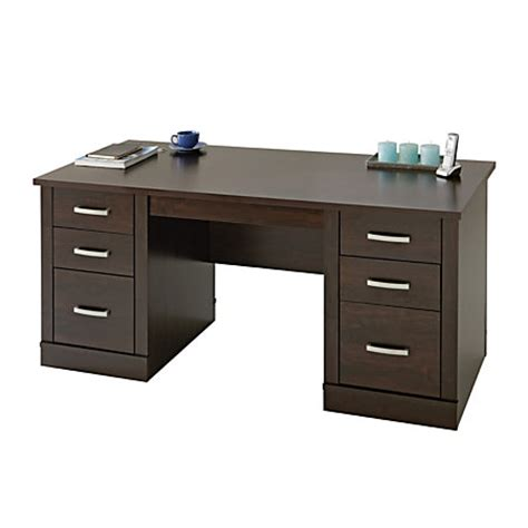 sauder office port executive desk dark alder by office