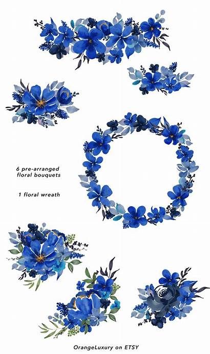 Flowers Clip Flower Watercolor Navy Floral Roses