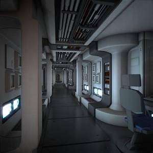 Spaceship Corridor HD 3D Model animated .obj .fbx .blend ...