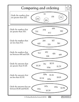 math worksheets  grade  comparing numbers