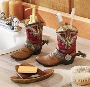 Western theme bathroom decor pair of cowboy boots hat for Country themed bathroom accessories