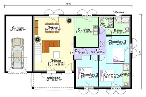 plan maison plain pied 3 chambres avec garage plan de maison plain pied avec suite parentale mezzanine