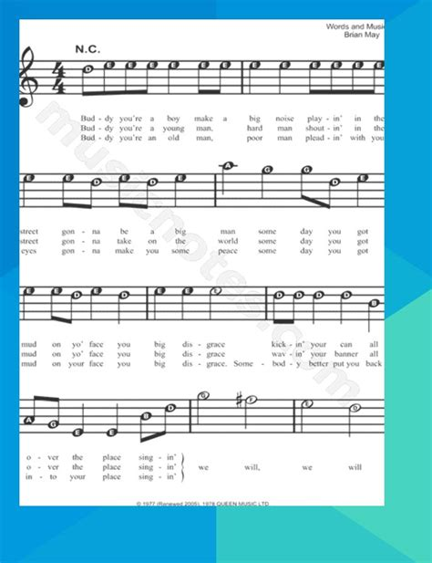 Fife$queen — we will rock you (minus) 03:07. Print and download We Will Rock You sheet music by Queen. Sheet music arranged for Piano/Vocal ...