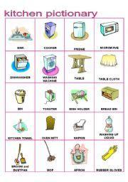 kitchen furniture pictionary part  esl worksheet