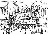 Coloring Picnic Backyard Barbeque Netart Print sketch template