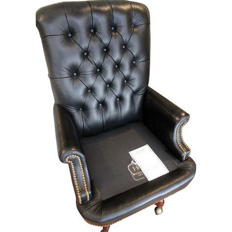 hickory leather tufted executive swivel chair from