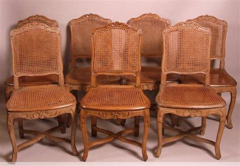 chaises cannées suite de 7 chaises cannées d 39 époque louis xv estillées
