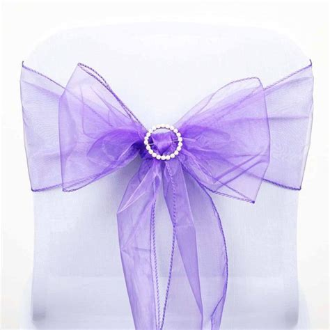 5 pcs wholesale purple sheer organza chair sashes tie bows
