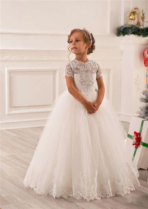romantic ivory crystal lace flower girl dress  weddings