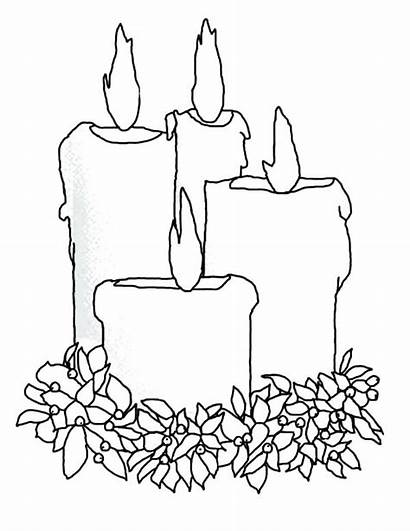 Candle Coloring Christmas Pages Draw Four Candles