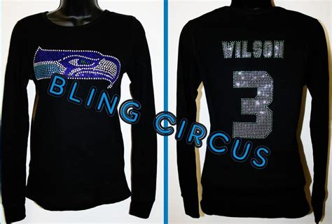womens ladies seattle seahawks bling sparkle russell
