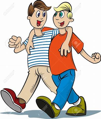 Walking Boys Clipart Friends Friend Cartoon Friendship