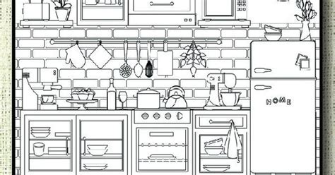 This Kitchen Themed Coloring Page Is Ideal For Home Lovers