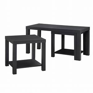 3 piece coffee and end table set in black 5082096 With 3 piece coffee table set black