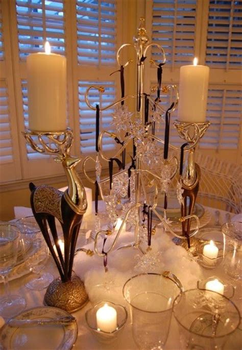 winter table setting  swarovski ornament centerpiece