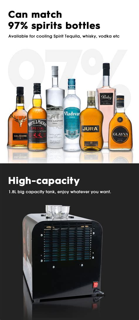 2 bottles with tap wine chiller dispenser liquor spirit tequila whisky vodka cold shot machine